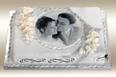 Fototorte für Hochzeit mit Lebensmitteltinte bedruckt