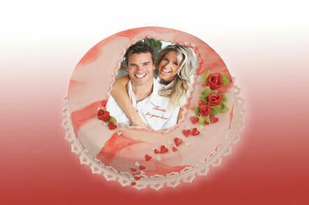 Fototorte Hochzeit hergestellt mit Esspapier Fondantpapier